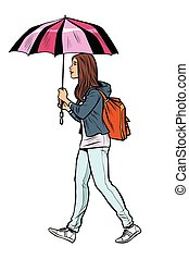 teen girl with umbrella