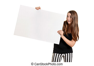 Teen girl with white card