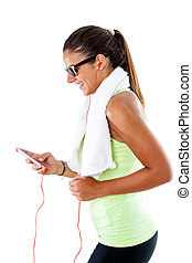 Teen girl working out with smartphone.