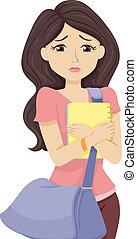 Teen Girl Worried College Prospects - Illustration of a...