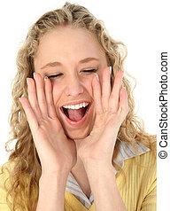 Teen Girl Yelling - Close-up of a beautiful blonde teen ...
