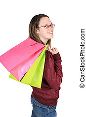 Teen girll with shopping bags