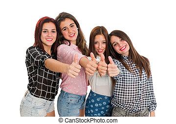 Teen girls doing thumbs up