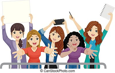 Teen Girls Fans Illustration