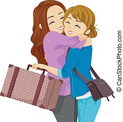 Teen Girls Friend Travel Hug Illustration