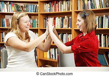 Teen Girls High Five