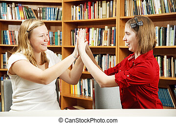 Teen Girls High Five