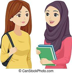 Teen Girls Muslim Classmate Illustration