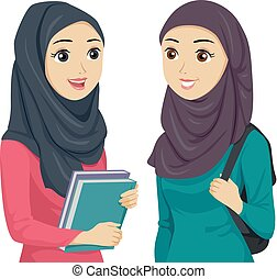 Teen Girls Muslim Students Illustration