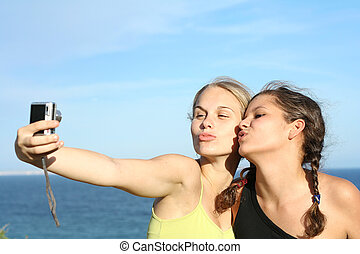 teen girls on road trip vacation
