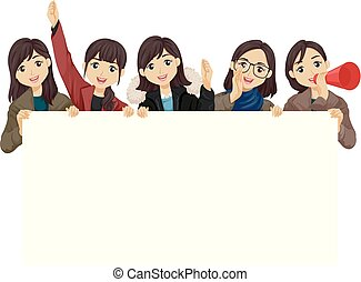 Teen Girls Students Cheer Illustration