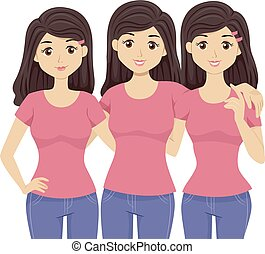Teen Girls Triplets Illustration