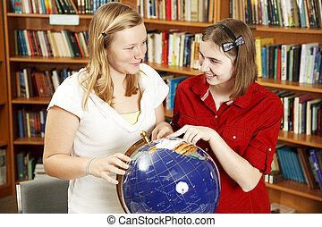 Teen Girls with Globe