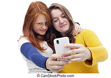 Teen girls with phone