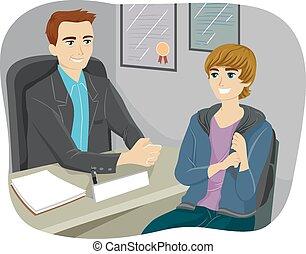 Teen Guy College Guidance - Illustration of a Teenage Boy ...
