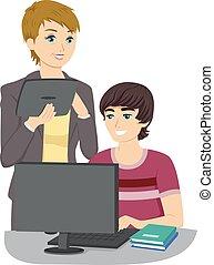 Teen Guy Computer Tutor Lesson
