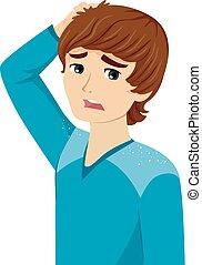 Teen Guy Dandruff Physical Change Puberty