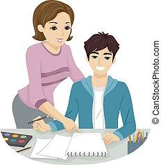 Teen Guy Girl Teacher Art Class