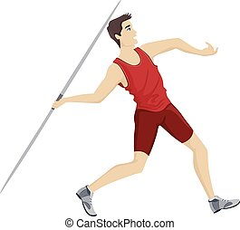 Teen Guy Javelin Player Throw
