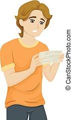 Teen Guy Paycheck Sad Illustration
