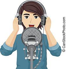 Teen Guy Recording Illustration