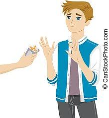 Teen Guy Refuse Cigarettes - Illustration of a Teenage Boy...