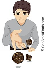 Teen Guy Role Playing Game Dice Illustration