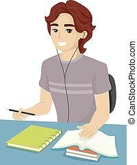Teen Guy School Study