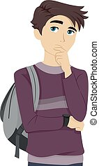 Teen Guy Student Thinking to Himself - Illustration of a...
