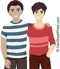 Teen Guys Bestfriends Hanging Out - Illustration of Male...