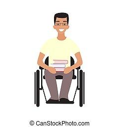 teen., handicap, asseoir, handicapé, étudiant, whilechair.