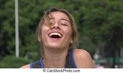 Teen Hispanic Girl Laughing