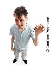 Teen holding a key