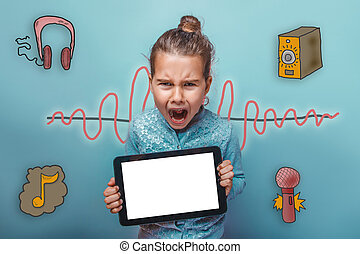 teen holding a tablet