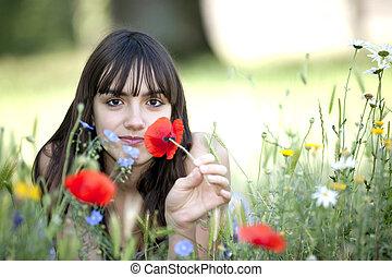 teen in flowers