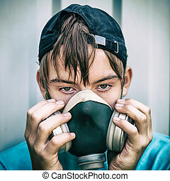 Teen in Gas Mask