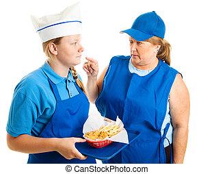 Teen Job - Mean Boss - Teen girl working in fast food gets...