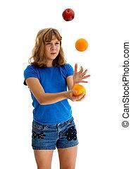 Teen Juggling Apple and Orange 3