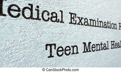Teen mental health medical report