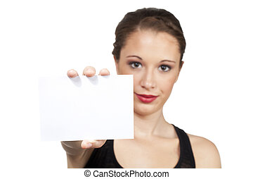 teen model holding up white card to use for creative text -...