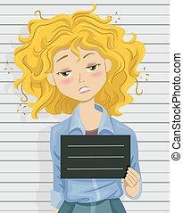 Illustration of a Drunk Teenage Girl Posing for a Mug Shot