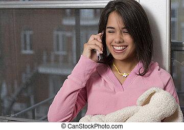 Teen on cellphone