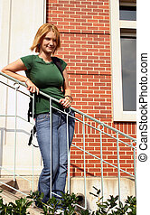 Teen On Steps