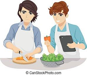 teen para, gotowanie, wesoły, ilustracja