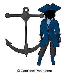 Teen Pirate Illustration Silhouette - A teen pirate with an...