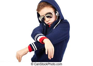 Teen rapper - Portrait of a cool kid dressed like a rapper