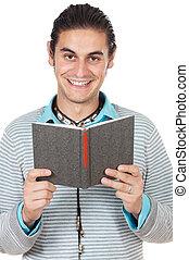 Teen reading a book
