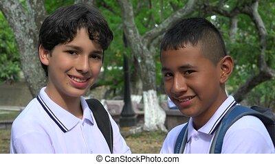 Teen School Boys At Park