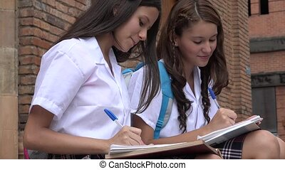 Teen School Girls Writing