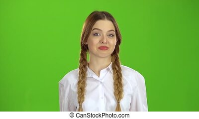 Teen shows a ok and smiling . Green Screen - Teen shows a ok...